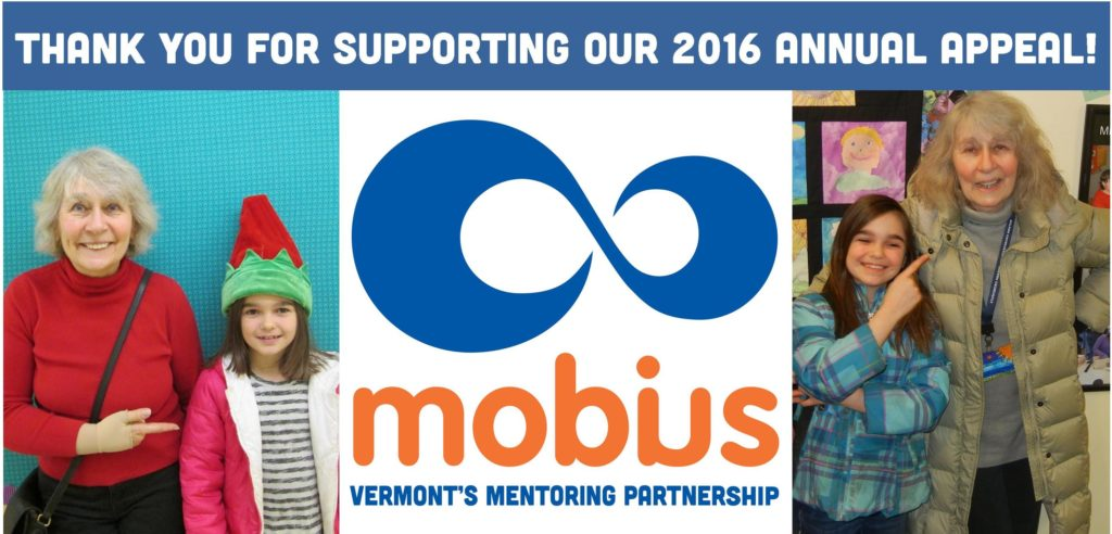 2016 Mobius Annual Appeal for Youth Mentoring in Vermont