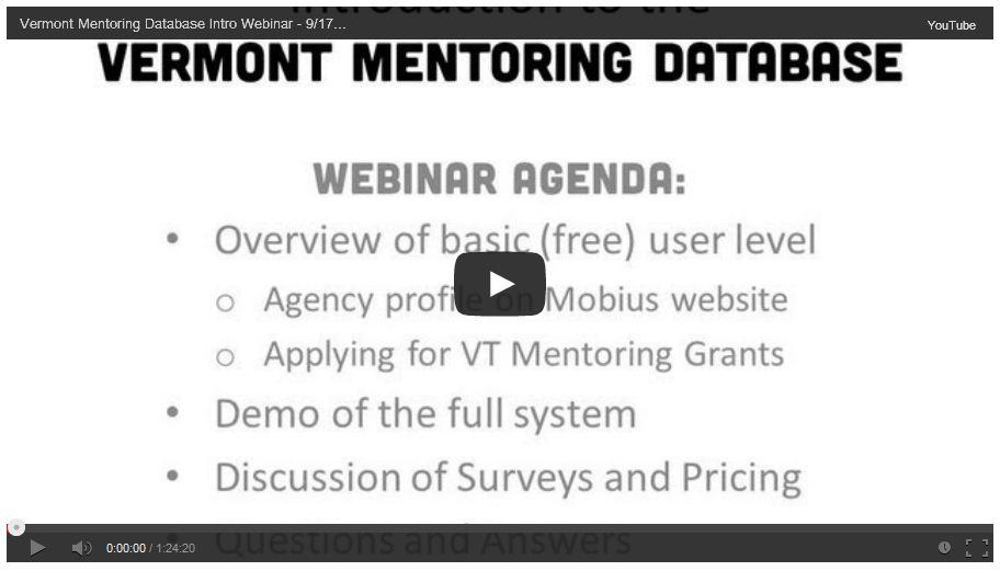 Vermont Mentoring Database intro webinar